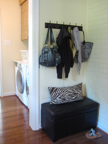 Making A Mini Mudroom With Hooks & A Bench