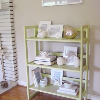 Painting A Wood Bookshelf Soft Green