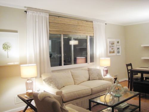 Make Your Picture Windows Look Huge By Hanging Bamboo Blinds And Floor Length Curtains High Wide
