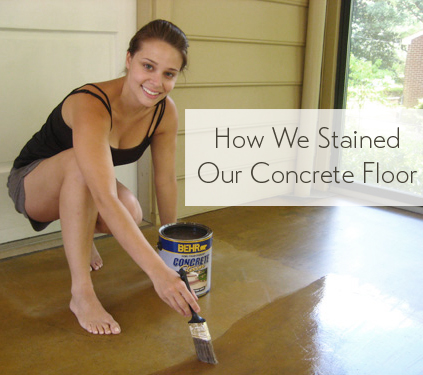 How To Stain A Concrete Floor In Sunroom Using Behr And Paintbrush