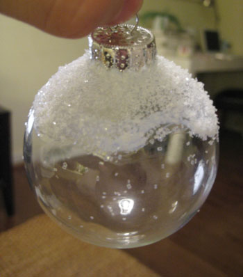 How To Make Feather Filled & Snow Capped Glass Ornaments