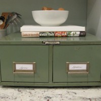 A Vintage Card Catalog In The Kitchen For Spices & Spoons