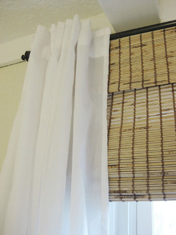 Favorite window look: Bamboo shades & billowy white curtains