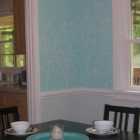 Drawing Leafy Branches With Chalk On The Dining Room Walls