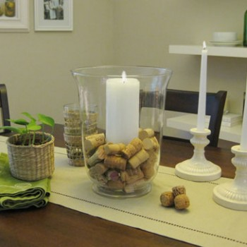 A Wine Cork Centerpiece & Keeping Candlesticks Straight