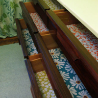 Nursery Progress: Lining Our Drawers With Paper & Mod Podge