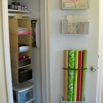 Mounting Baskets For Gift Wrap & Stationery Storage To A Door