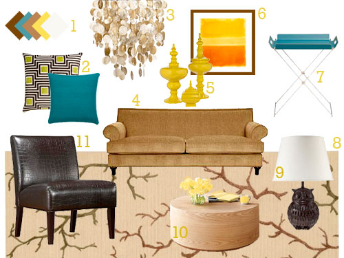 Mood Board Making: A Gold, Tan, Teal, & Yellow Living Room