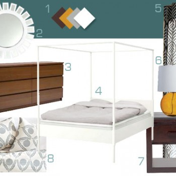 Mood Board Making: Dark Teal, Wood, & White Bedroom