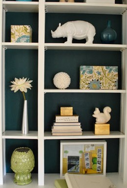$11 Makeover: Painting The Back Of Our Built In Bookcases
