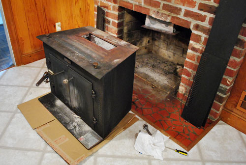 The Beginning Of A Fireplace Makeover: Removing A Woodstove Insert