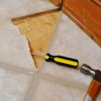 Removing Cabinets & Patching A Vinyl Floor Tile