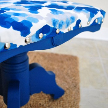 Painting And Reupholstering An Old Foot Stool