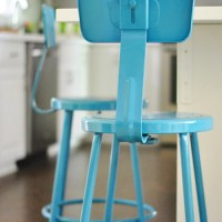 Spray Painting Metal Kitchen Stools A Happy Turquoise Color