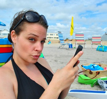 Beach-Day-Sherry-On-Phone