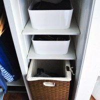 Oragnizing Closet Shelves With Some Simple White Bins
