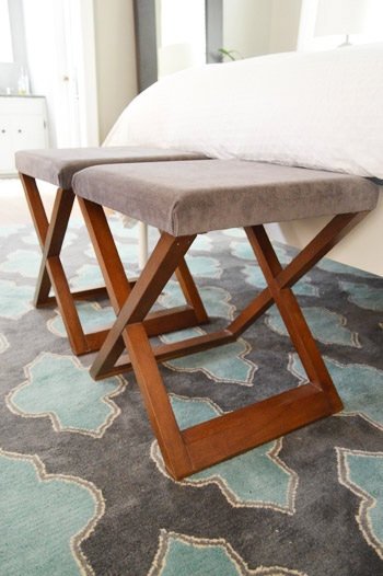 Turning Side Tables Into Benches At The End Of The Bed