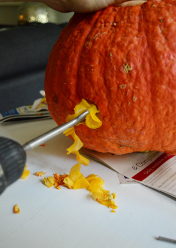 Drilling Holes In Your Pumpkins For Spooky Wood Snakes