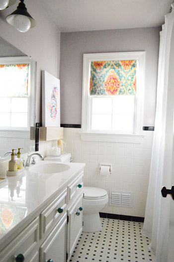 after photo of DIY window shade in bathroom