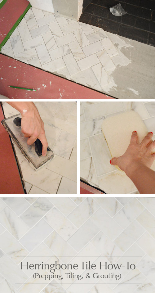 herringbone-tiling-tutorial-diy-grouting