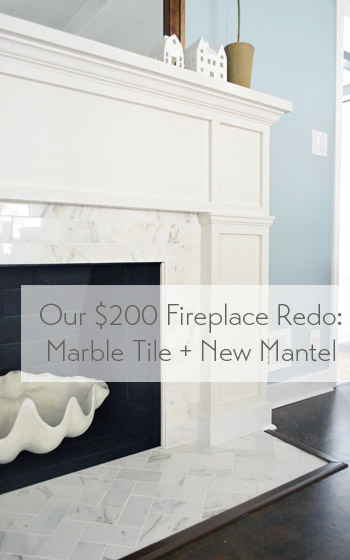 Our Fireplace Redo New Mantel Marble Tile
