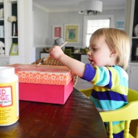Covering A Box With Kid Art