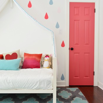 A Bright Closet Door & Some Playful Painted Raindrops