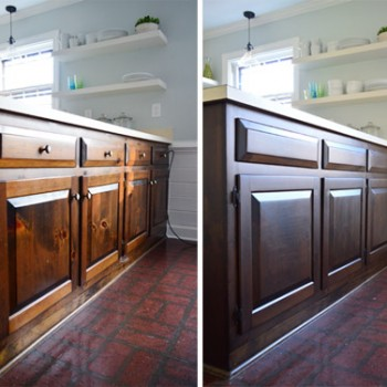 Using Polyshades To Darken Our Wood Cabinets