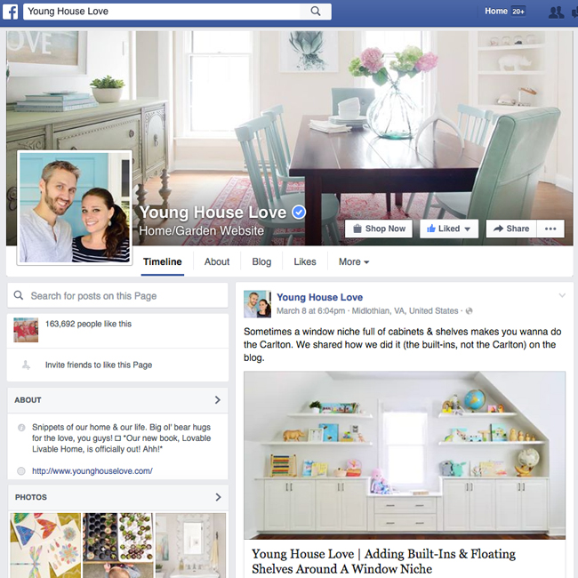 sample of a blogger Facebook page using Young House Love on Facebook