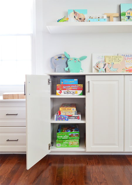 White Ikea cabinetry built ins used to store kids games and toys in bonus room