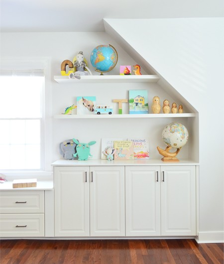 Adding Built-Ins & White Floating Shelves Around A Window Niche