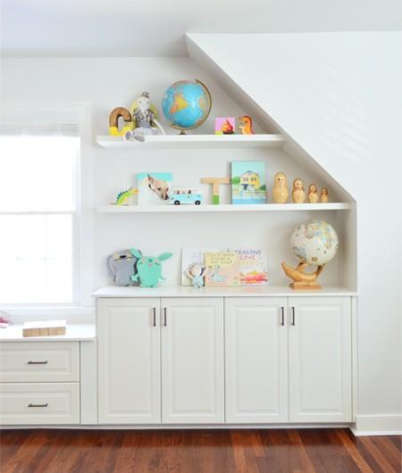 Adding Built-Ins & White Floating Shelves Around A Window Niche
