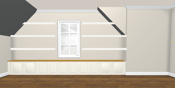 Rendering of built-in cabinets and floating shelves using Ikea 3D Kitchen Planner