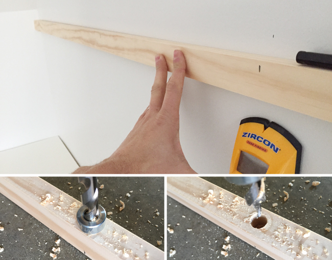marking the placement of studs on a piece of 1x2 pine wood board and drilling pilot holes to sink screws into