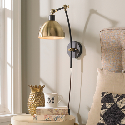 Dapper Adjustable Arm Sconce for Shades of LIght