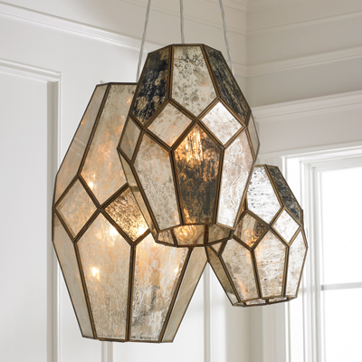 Mercury Glass Prism Chandelier