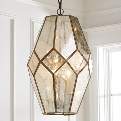 Mercury Glass Prism Lantern
