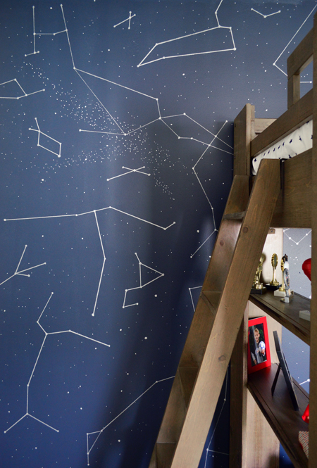 Boys Outer-Space-Bedroom-Night-Sky-Accent-Wall