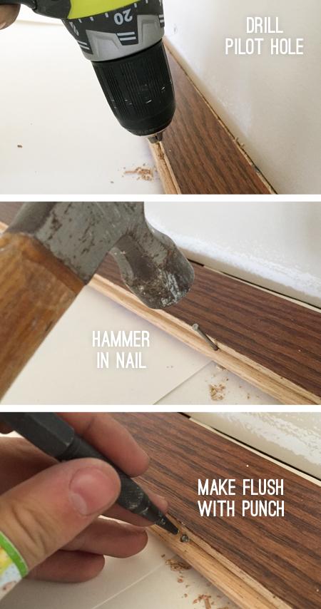 install hardwood flooring hand nailing first row