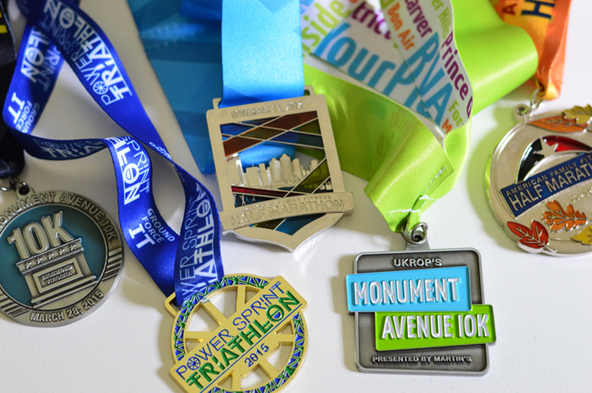 running race medals before becoming christmas ornaments