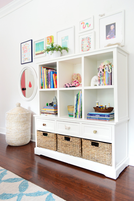 GirlsRoom-Bookcase-Art-Frames-Toy-Storage