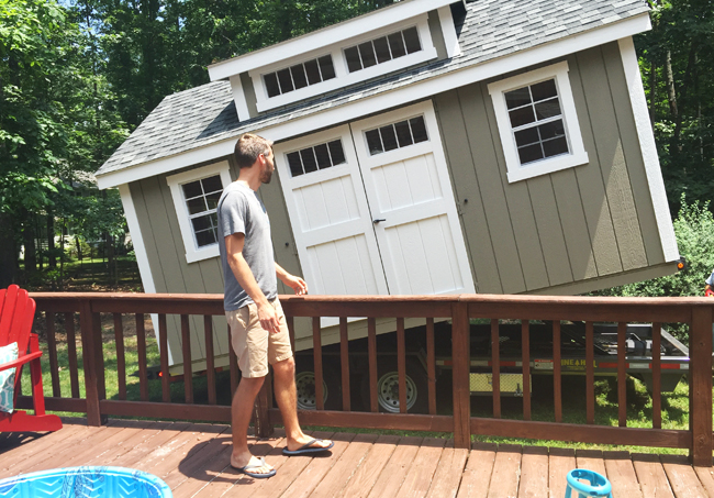 Shed-Delivery-John-Watching-From-Deck