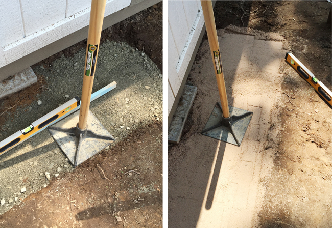 Shed-Stone-Step-Tamping-Gravel-Sand