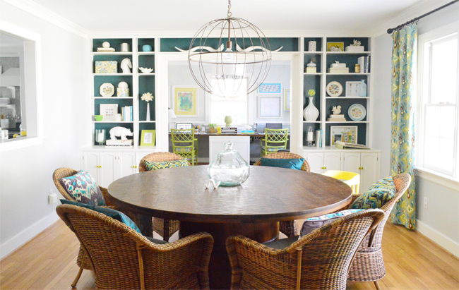 Built In Bookshelves Dining Room Blue Background