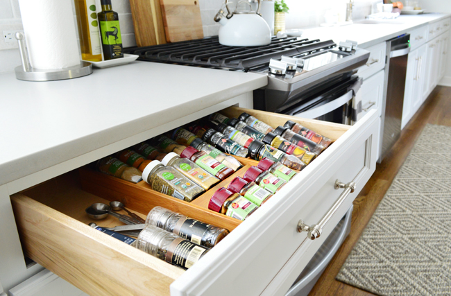 kitchen cabinet organization spice drawer - Kitchen Cabinet Organizers