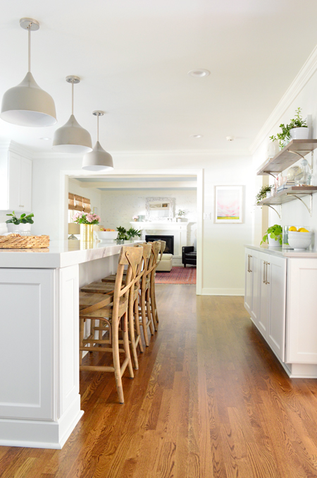 reclaimed wood shelves in white kitchen remodel