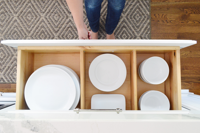 white-kitchen-remodel-plate-drawer-open