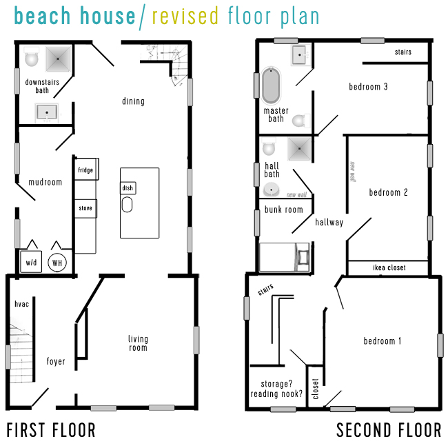 Beach House Floor Plans one story beach house floor plans Beach House Tour Revised Floor Plan