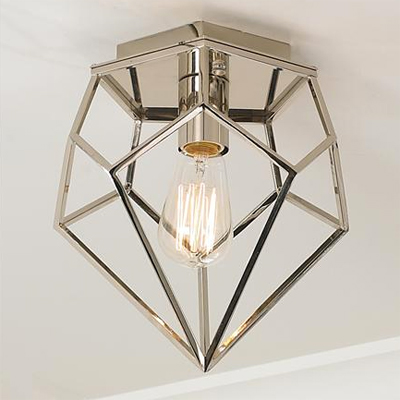 Chrome Geometric Flush Mount