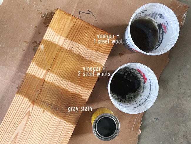 reclaimed wood shelves staining technique with vinegar and steel wool … - How To Make Long Reclaimed Wood Shelves Young House Love